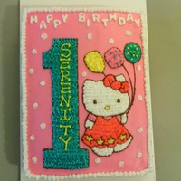 Hello Kitty 1St Birthday Cake This is an almond cake with buttercream filling and decorations. The customer gave me a picture of her babies invitations and I drew the...