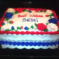 "Uso Farewell Double layer 9x13"" almond cake with a raspberry filling and covered in almond buttercream."