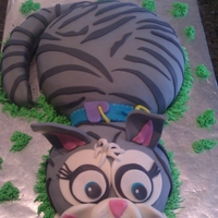 "Kitty Cake For My Daughter's B-Day Inspiration from ""Cat in Grass by Munchkin_Mette"" Thank you. Marble cake with home made fondant."