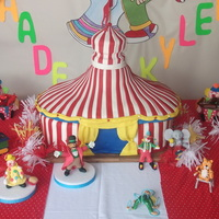 Circus Party Tent Cake and Circus 50/50 characters