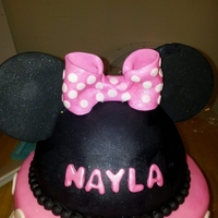 Minnie Mouse Cake 10 in,8 in, half wilton ball pan for the head.