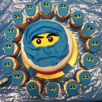 Ninjago Cake vanila cupcakes and cake with fondant toppers and decoration.