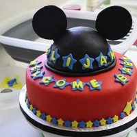 "Mickey Mouse Themed Baby Shower Cakp Mickey's head is cake with fondant ears with bottom 10"" cake"