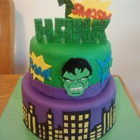 "Incredible Hulk Cake 6 And 8 Cake Incredible Hulk cake: 6"" and 8"" cake"