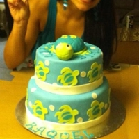 Ohana Turtle Cake all fondant, turtle is RKT