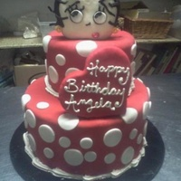 Betty Boop Cake I made for my aunt's birthday. Betty's head and the heart is made of rice kirspies.