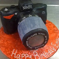 Nikon D60 Camera Cake Cake for a friend's birthday in the shape of a Nikon D60 camera.