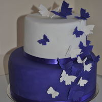 Purple And White Butterfly Wedding Cake Purple and white butterfly wedding cake