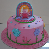 Peppa Pig Garden Rainbow Cake With Hand Made Topper Peppa pig garden rainbow cake with hand made topper