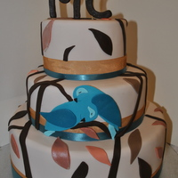 "3 Tier Engagement Cake, Love Birds 3 tier love birds engagement cake in autumn/ ""fall"" colours."