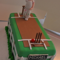 "Cricket Cake... Boy/ Man Cake!!! Cricket cake with hand made ""bowler"" figure"