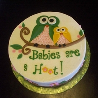 Owl Baby Shower Cake A chocolate cake with vanilla buttercream and fondant decorations for an owl themed baby shower