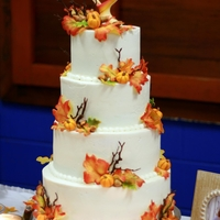 "Autumn Wedding I made this 4 tiered wedding cake for my nephew and his new bride this weekend. 6"", 8"", 10"" and 12"" rounds, 4 1/2&quot..."