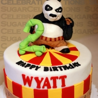 Kung Fu 2 I made this cake for my cousin's little boy this weekend. The panda is made of rice krispy treats and fondant/gumpaste. The design on...