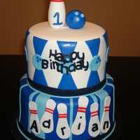 Bowling Cake For my son's 10th birthday! Eight and six inches cake all covered and decorated with fondant.