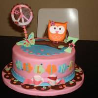 Owl Cake Nine inches Chocolate cake for a camping birthday celebration. It matches with the birthday decorations.