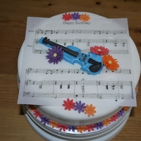 Blue Violin And Flowers