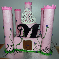 Princess Castle  Vanilla Cake, Strawberry Filling & Cream Cheese Frosting.Towers are Rice Crispy treats. All covered in MMF, Decorated with BC vines &...