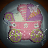 Baby Basinet Made for a friends Baby Shower. Chocolate Cake with BC Frosting. and Decorative Butterfly's and MMF daisy's