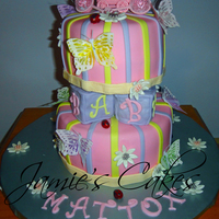 Butterfly Shower  This cake was for my Cousin's baby Shower. Cake is a Strawberry Swirl with CC frosting. Decorated with MMF. MMF Daisy's &...