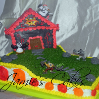 Kung Fu Panda  This cake was made for my cousin's son! Chocolate Cake with BC Frosting and a Rice Crispy treat temple covered in MMF and Toy...