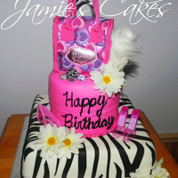 Zebra Diva Cake This cake was made for my two Nieces. Cake is Vanilla with Cream cheese frosting and covered with MMF.