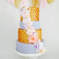 Sequinned Wedding Cake With Wafer Paper Flowers. This was my first time using edible sequins, time consuming but so much fun. I also experimented with wafer paper flowers, love the...