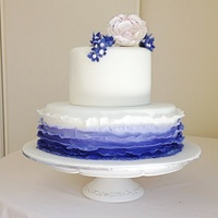 Violet Ombré Effect Ruffle Wedding Cake