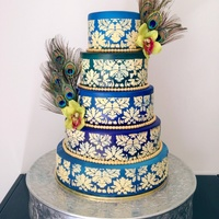 This Is My First 5 Tier Wedding Cake I Airbrushed The Fondant To Create The Different Shades Of Blues And Green And Stenciled On The Desig... This is my first 5 tier wedding cake. I airbrushed the fondant to create the different shades of blues and green and stenciled on the...