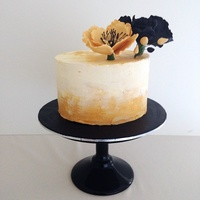 Black And Gold Themed Cake.