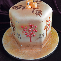 Thanksgiving Cake Airbrushed Trees With Custom Stencils And Royal Icing Decorations Thanksgiving Cake, airbrushed trees with custom stencils and royal icing decorations