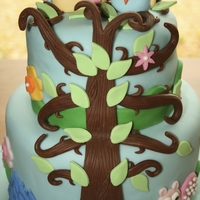 "Happi Tree Baby shower cake in Happi Tree theme ""revised"" with a blue owl for baby boy"