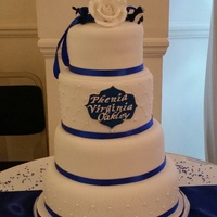 Royal Blue And White Stacked Tribute Cake I made this cake for my Grandmother's funeral reception which more or less resembled a wedding reception hence the stacked cake. I...
