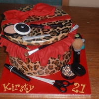 Leopard Print Hatbox And Make-Up 100% edible (except cake board)