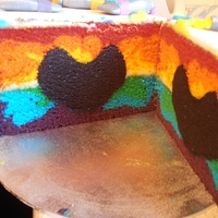 Rainbow Cake With Black Glitter Heart