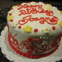 My Birthday Cake!   Red velvet cake, with cannoli filling covered in fondant.