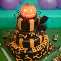 Halloween Themed Birthday Cake A halloween themed cake for my friends birthday