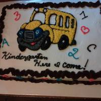 Kindergarten Here I Come! Graduation cake from Preschool to Kindergarten.Buttercream icingChocolate flavor butter cream icing as the boardersletters and numbers on...