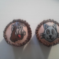 Alf And The Cat Cupcakes!! Hand painted... used a homemade stencil... Alf and The Cat, this was for a little boys birthday that he shared in school