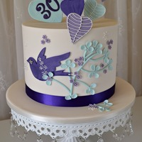 "A 30Th Birthday Cake Based On An Invitation Design Colour Theme Is Purple And Teal Blue With Light Ivory Icing This Cake Is An 8 Round Ex  A 30th birthday cake based on an invitation design. Colour theme is purple and teal blue with light ivory icing. This cake is an 8""..."