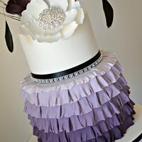 Ruffled Feathers A special 40th Birthday cake based on feathers, flowers and ruffles.