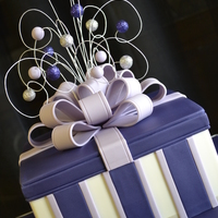 Purple Gift Box   A 40th birthday cake which is a Hazelnut praline truffle cake soaked in Frangelico syrup.