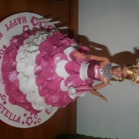 My 2Nd Barbie Cake. 8th Birthday Barbie, choc cake with Vanilla butter cream filling. Fondant decorations.