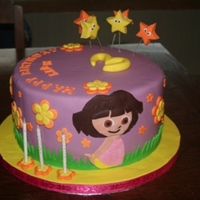 Dora Themed Birthday Cake This was a request for my 1st Dora cake. What a mission the DORA cut out was, i had a paper cut out as a template but mostly did her by...