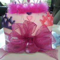 Princess Fondant covered cake with fondant accents,topped with tiara and boa
