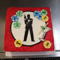 10 Inch Square Cake For A Casino Royalejames Bond Themed Event Yellow Cake With Swiss Meringue Buttercream And Fondant Figurepoker Chips  10 inch square cake for a Casino Royale/James Bond Themed event. Yellow cake with Swiss Meringue Buttercream and fondant figure/poker chips...