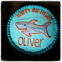Shark Cake Red velvet cake with cream cheese frosting. Design copied from birthday party invitation.