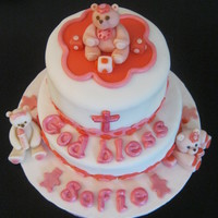 Baby Bears Christening Cake  Our 3rd cake=) It's a gift for my sister's little niece on her Christening. We used a round 9 inch and 7 inch baking pans. The...