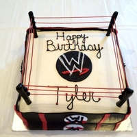 Wrestling Ring My second ring. Buttercream and fondant w/ painted spaghetti as ropes.