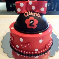 Minnie Mouse Cake For 2Nd Birthday Cake was all chocolate w/ buttercream and fondant accents/deco/bow.